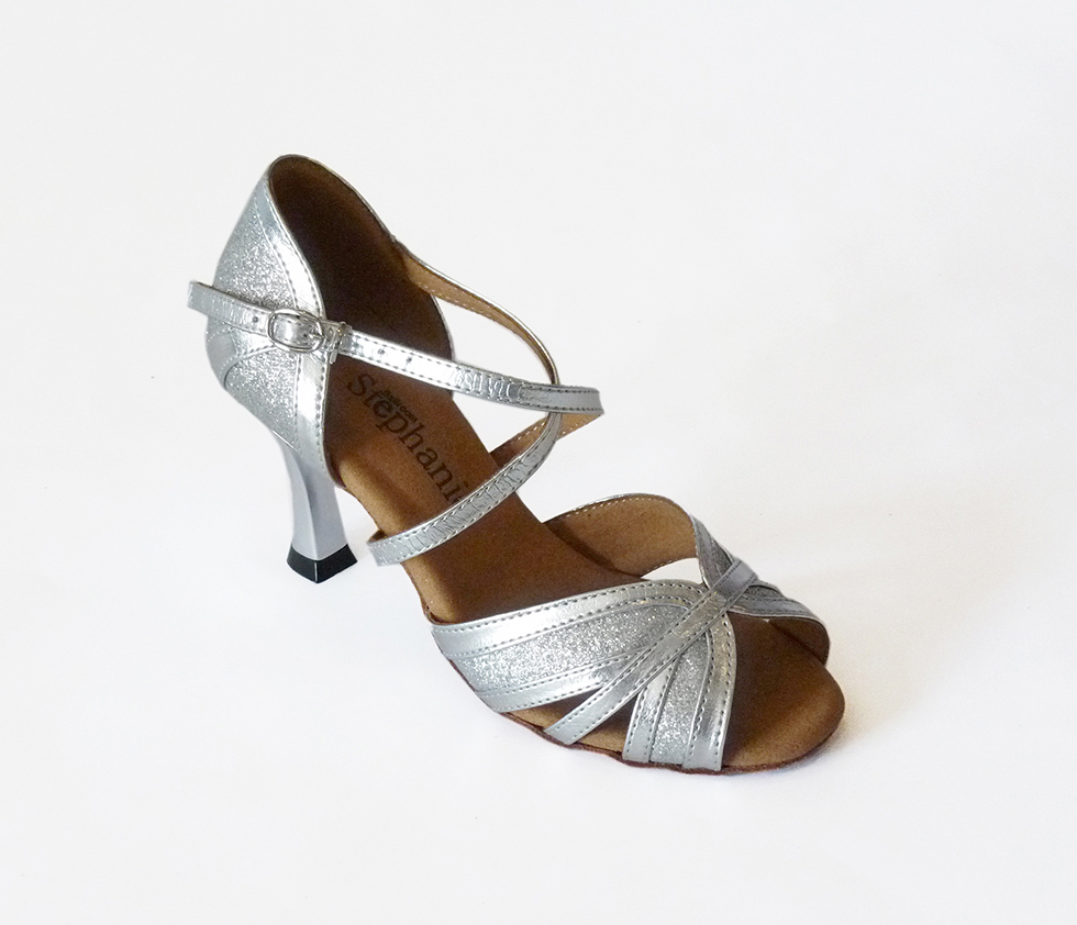 """Silver Leather//Glitter Stephanie Dance Shoes 2"""" /& 2.5"""" Flared Heel 2083-42"""